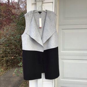 NWT Talbots Wool Flannel Gray &  Black Long Vest